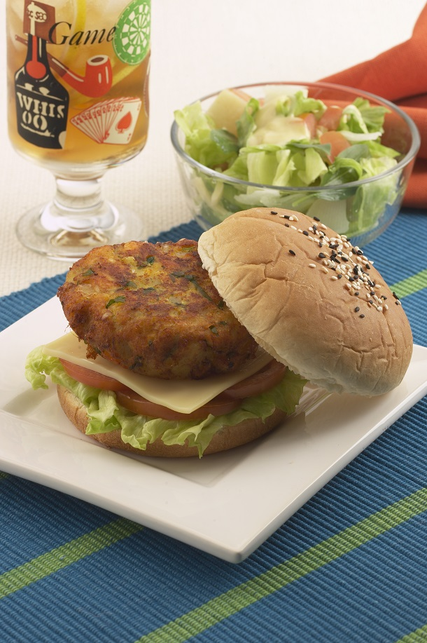 spicy fish cutlet burger